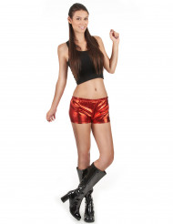 Shorty disco rouge brillant femme
