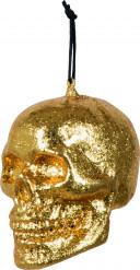Décoration à suspendre crâne doré Halloween