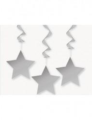 3 Décorations à suspendre étoiles grises