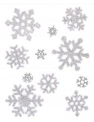 Stickers flocons de neige à paillettes argentées Noël