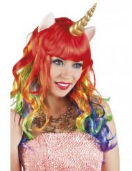 Perruque longue multicolore licorne femme
