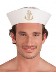 Chapeau marin avec ancre dorée adulte