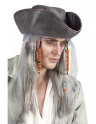 Perruque et chapeau pirate gris homme