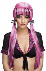 Perruque rose à couettes femme
