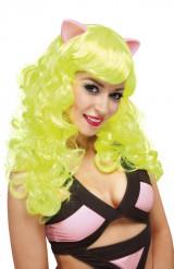 Perruque jaune fluo avec oreilles femme