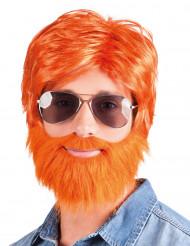 Perruque avec barbe et moustache rousse homme
