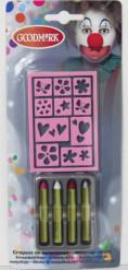 Set de 4 crayons avec pochoir