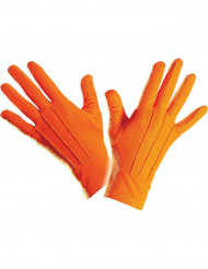Gants courts orange adulte