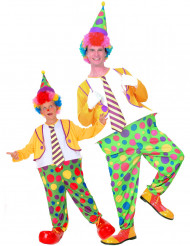 Déguisement de couple clown à pois père et fils