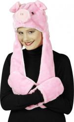 Bonnet cochon avec moufles adulte