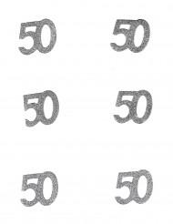 6 Confettis anniversaire 50 ans 5 x 5 cm