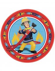 8 Assiettes en carton Sam le pompier™ rouge 23 cm