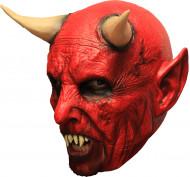 Masque 3/4 démon rouge avec cornes et dentier