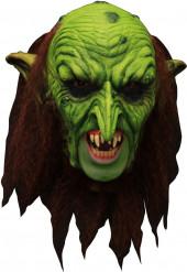Masque 3/4 lutin vert effrayant avec dentier