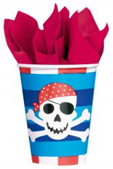 8 Verres en carton Sourire de Pirate