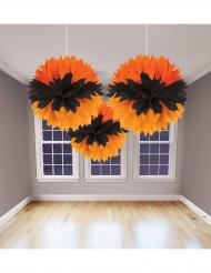 Lot de 3 décorations orange et noir