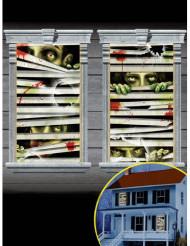 2 Décorations pour fenêtre Zombies enfermés