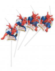 6 Pailles Médaillons Spiderman™
