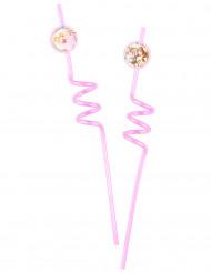 2 Pailles tourbillons Princesses Disney & Animaux™