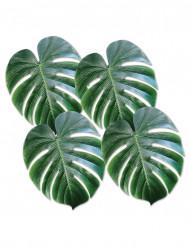 4 Feuilles de Monstera en plastique vert 34 x 29 cm