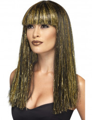 Perruque longue égyptienne noire et dorée femme