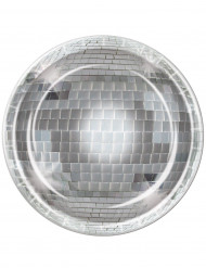 8 Assiettes boule à facettes Disco 23 cm