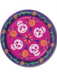8 Grandes assiettes Dia de los Muertos