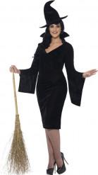 Déguisement sorcière noire effet velours femme Halloween