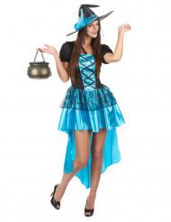 Déguisement sorcière bleue sexy femme Halloween