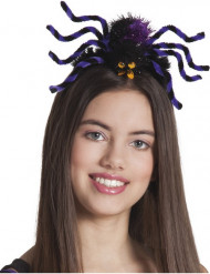 Serre-tête araignée violette adulte femme Halloween