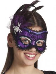 Loup violet avec plumes araignée femme Halloween