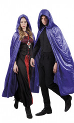 Cape violette aspect velours 170 cm adule Halloween