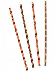 10 Pailles noir et orange en papier Halloween