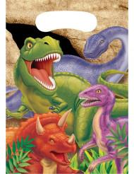 8 Sacs cadeaux en plastique anniversaire Dinosaures 16 x 22 cm
