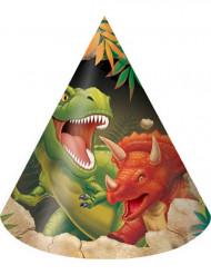 8 Chapeaux de fête en carton anniversaire Dinosaures