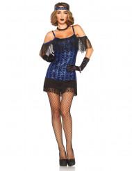 Déguisement charleston bleu à sequins femme