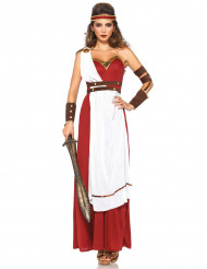 Déguisement guerrière romaine rouge et blanc femme