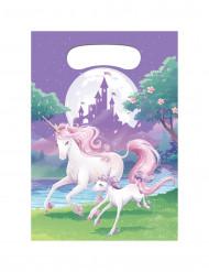 8 Sacs cadeaux en plastique Licorne magique 22 x 16 cm