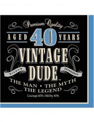 16 Serviettes en papier Vintage 40 ans 33 x 33 cm