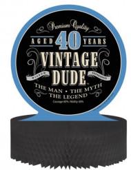 Centre de table en papier alvéolé anniversaire Vintage 40 ans 30 x 30 cm