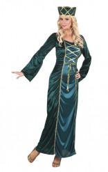 Déguisement reine médiévale verte femme