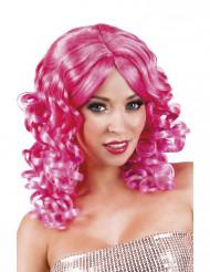 Perruque bouclée rose fluo femme