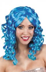 Perruque bouclée bleue femme