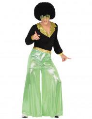 Déguisement disco holographique vert homme