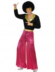 Déguisement disco holographique rose homme
