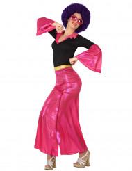 Déguisement disco holographique rose femme