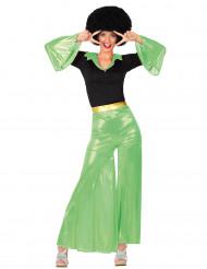 Déguisement disco holographique vert femme