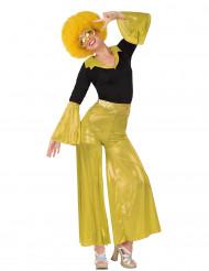 Déguisement disco holographique doré femme