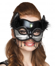 Masque chat noir et argent avec fourrure sexy femme