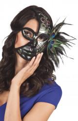 Demi masque noir paon adulte